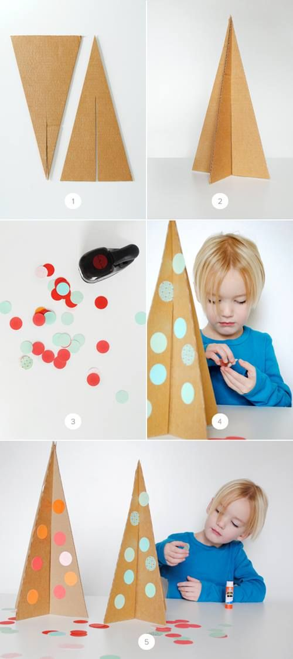Cómo hacer árboles de Navidad reciclando cartón 3
