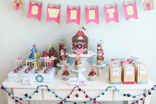 Decoración de fiesta infantil con casitas de jengibre 3
