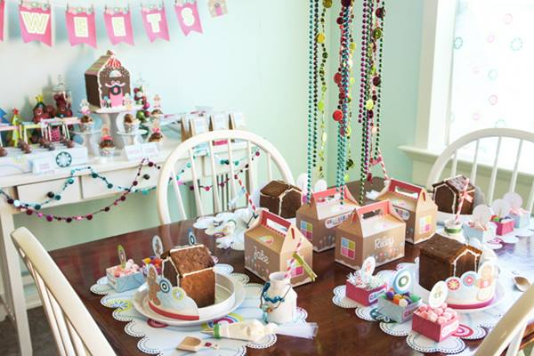 Decoración de fiesta infantil con casitas de jengibre 4