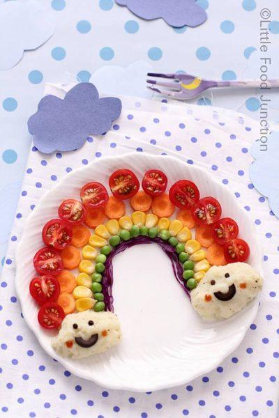 Receta para niños con arco iris de alimentos sanos
