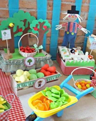 huerto frutal para fiesta infantil de granja