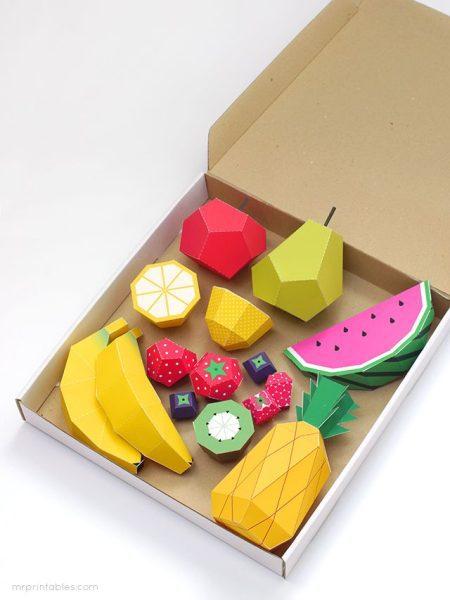 Manualidades de Papel:  Juguetes con forma de frutas