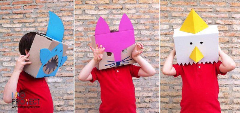 Hazlo tú misma: máscaras animales con cajas de cartón