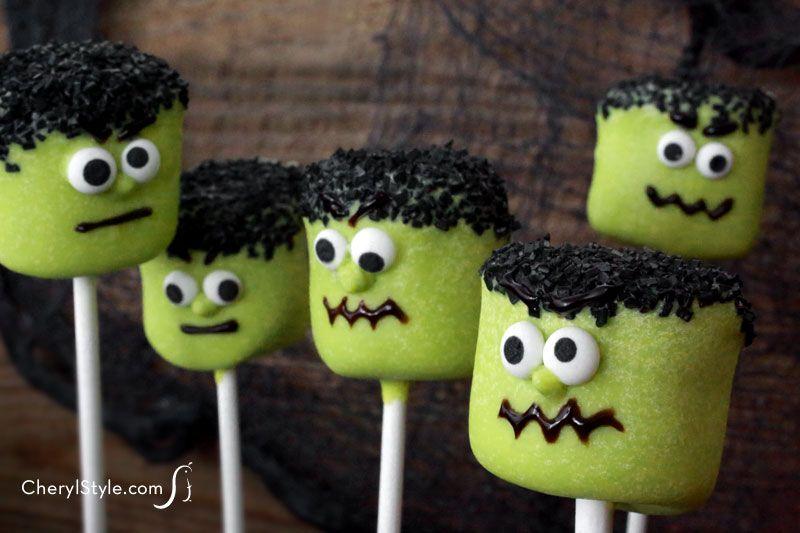 Cakepops de Frankenstein hechos con nubes de marshmallow