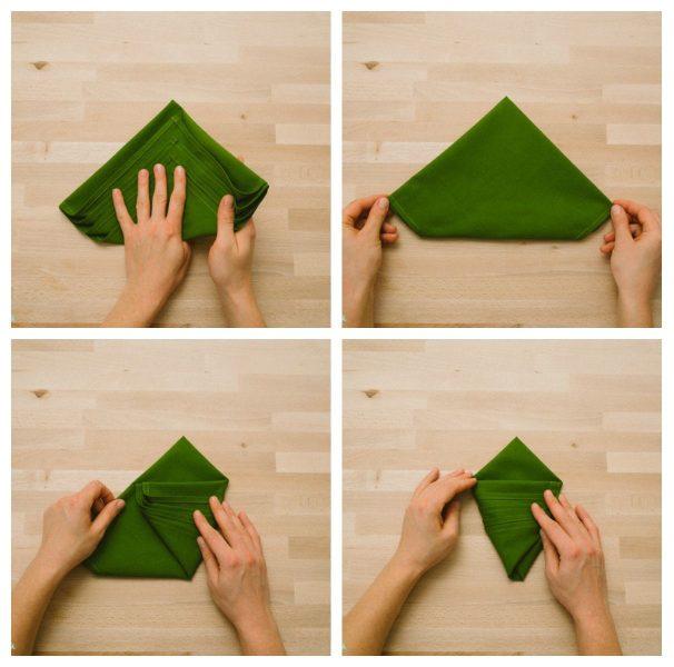 doblar servilleta tela arbol navidad facil (2)