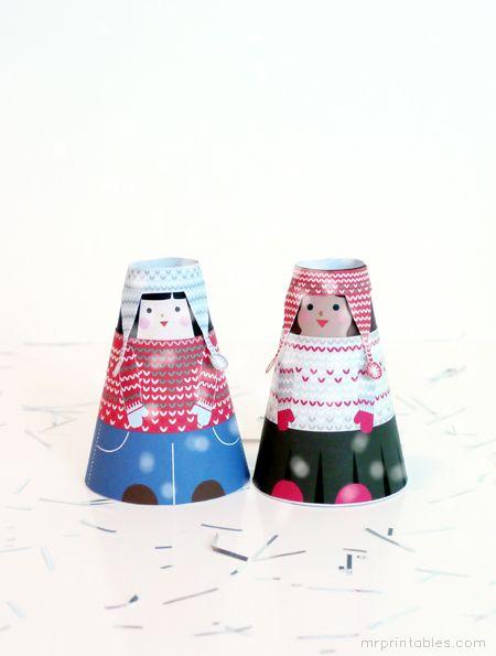 Figuritas de invierno para imprimir, montar y jugar