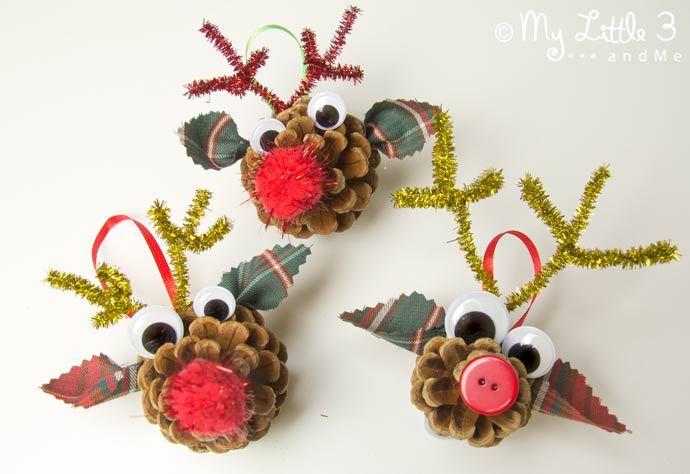 arbol decoración adorno piña diy reno facil niños (2)