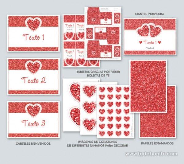 decoracion kit imprimible dia enamorados amor corazon rojo (8)