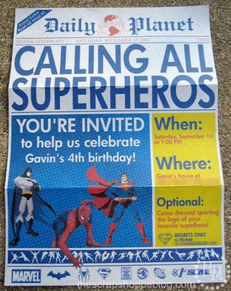 Invitaciones para una fiesta de superhéroes