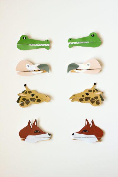 marionetas de papel con pinzas animales