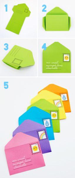 manualidades para niños con cartulinas sobre y carta
