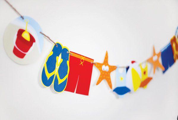 decoración fiesta para niños en la playa