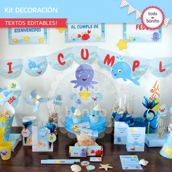 kit imprimibles y descargables decoración de fiesta de niños