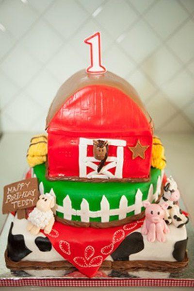 tarta de cumpleaños de la granja