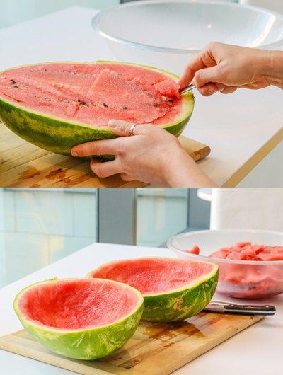 como hacer un postre de gelatina con una sandía