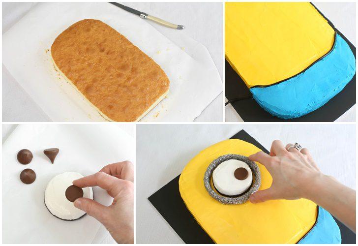 como hacer tarta con forma minion