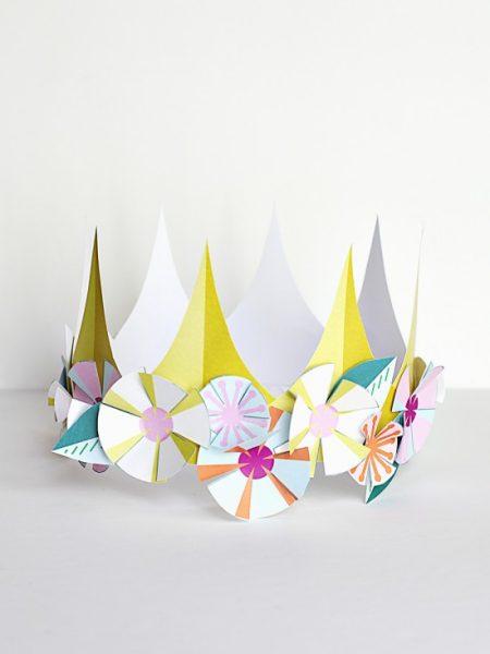 corona papel fiesta cumple circulos