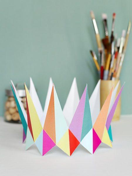 corona papel fiesta cumple triangulos
