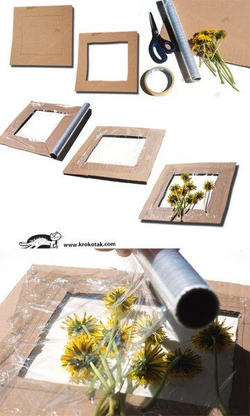 manualidad vacaciones niños flores marco panel