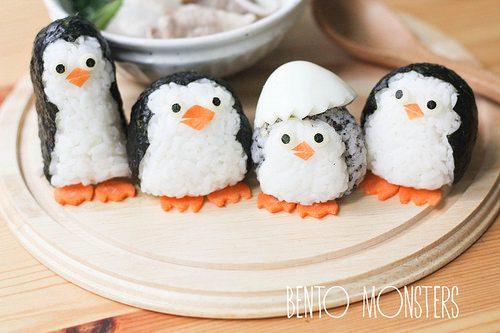 Pingüinos de Madagascar en versión comestible ¡con arroz!