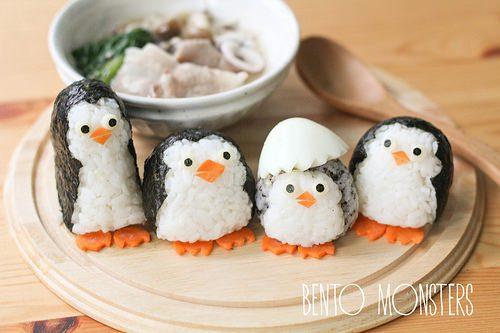 recetas creativas para niños pinguinos arroz alga nori