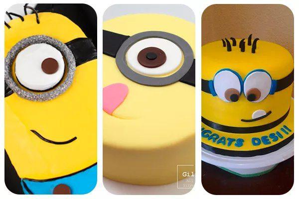 tres tipos de tarta minion para fiestas infantiles