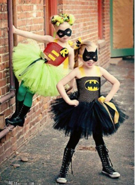 disfraz de superhéroe con tul para niña