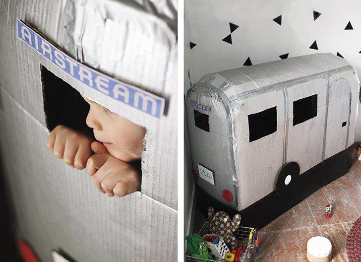 caravana carton jugar niños