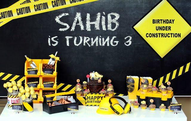 Fiesta de cumpleaños inspirada en la construcción