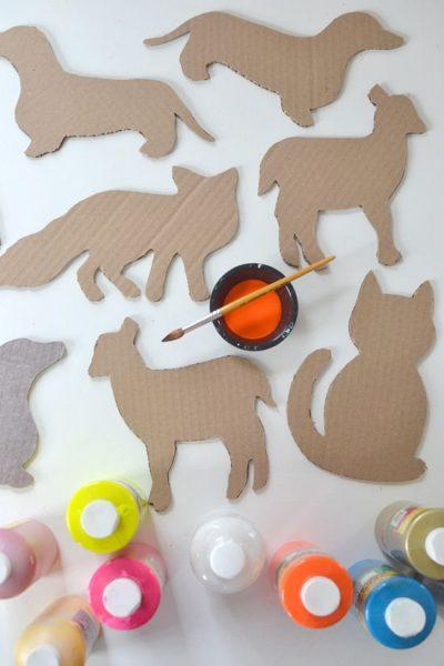 manualidades de carton para niños siluetas de animales