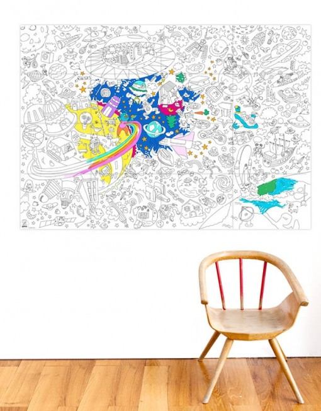 poster coloreable espacio exterior