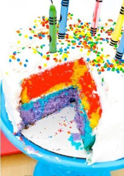 tarta para hacer una fiesta de colores