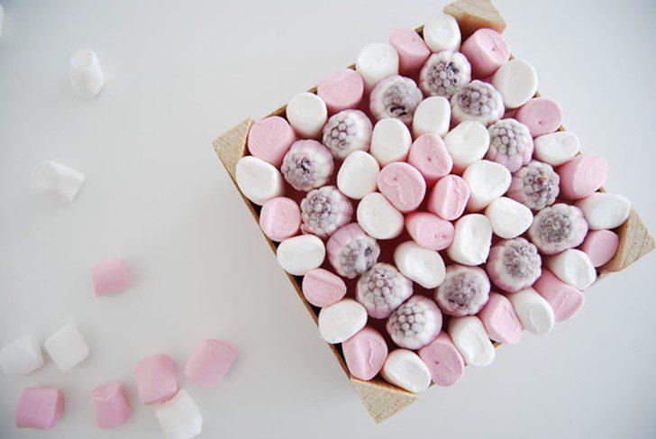 centro de chuches rosa y blanco