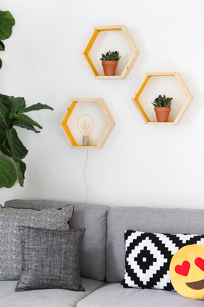 estanteria hexagonal DIY centro de mesa