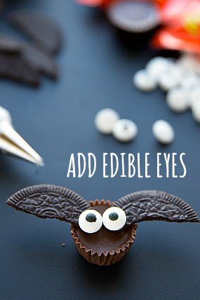 mini pasteles de halloween murcielagos ojos