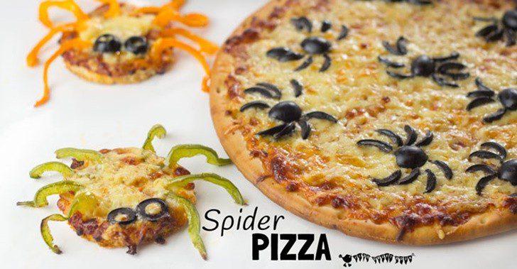 receta pizza para niños con forma de araña