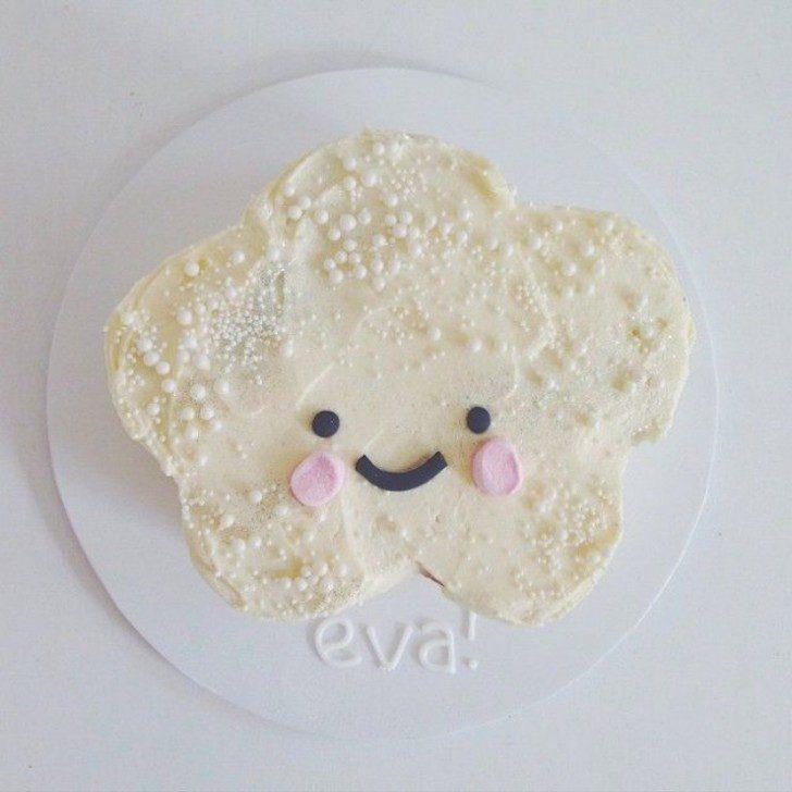 tarta bonita de estrella kawaii