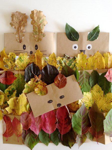 03 proyecto de otoño careta con hojas secas