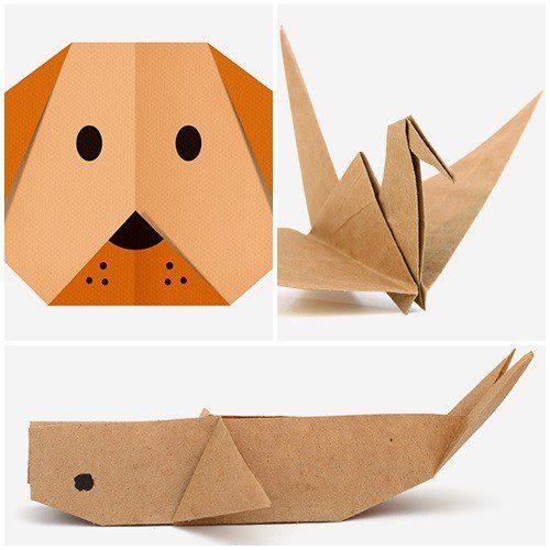 3 figuras de origami para niños