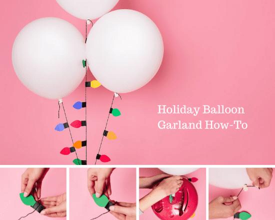 guirnalda de luces de colores con globos los pasos