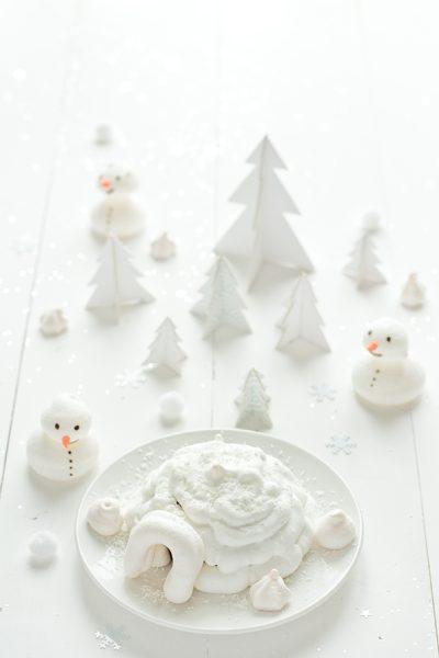 iglú de merengue para navidad postre