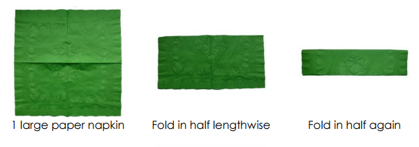 servilleta de elfo de navidad paso 1