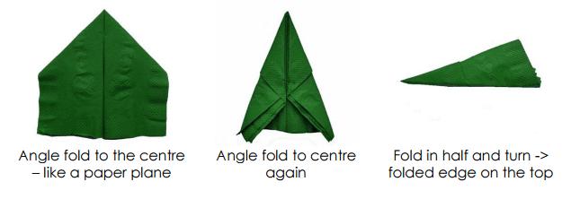 servilleta de elfo de navidad paso 2