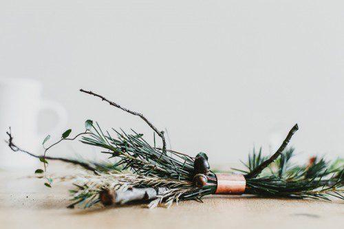 Corona de cobre y ramitas para Navidad diy