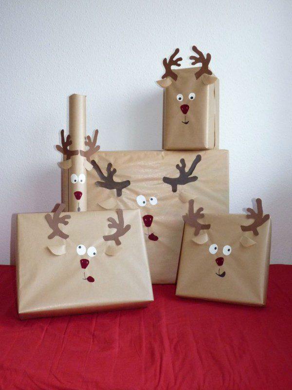 regalos de navidad con cara de reno