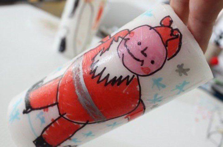 velas-decoradas-por-niños-para-navidad-papa-noel