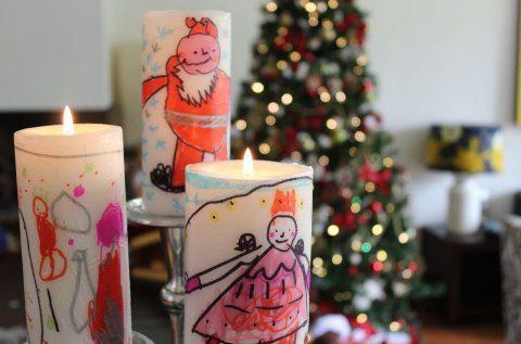 Velas decoradas por niños para Navidad