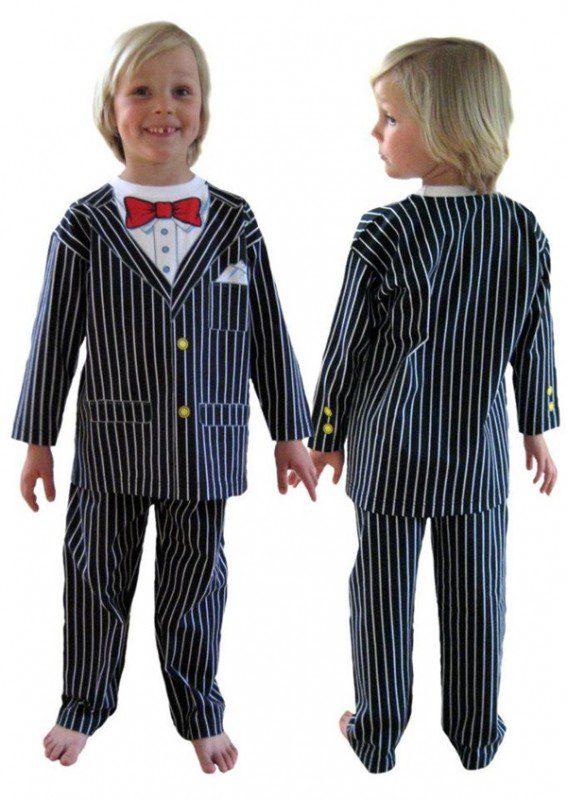 disfraz ganster pijama niños calentito