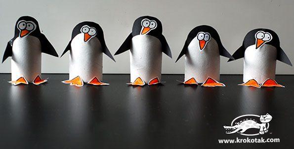 Pingüinos con Tubos de Papel Higiénico
