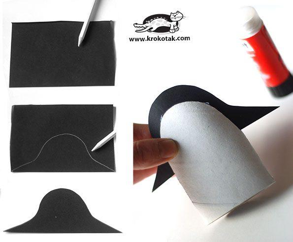 pinguinos con un tubo de papel higienico paso dos